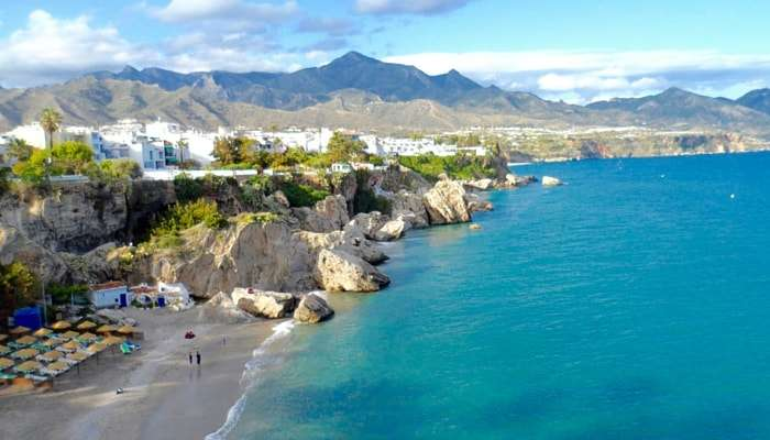 Beach in the coastal town of Nerja